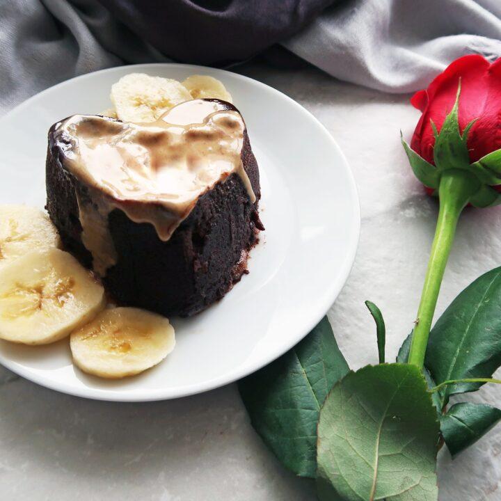 3 Minute Peanut Butter Banana Chocolate Mini Cake
