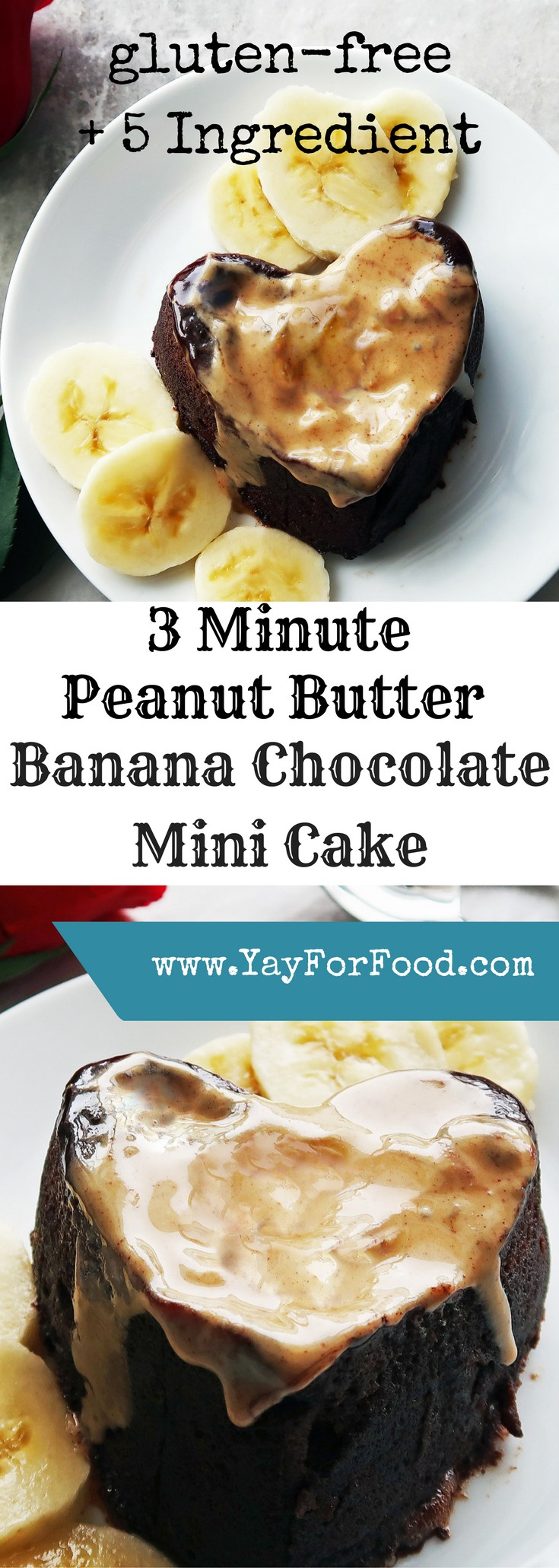 This doesn't get any easier! 5 ingredients and 3 minutes (or faster) from start to finish to get a tasty, gluten-free mini chocolate cake with peanut butter and banana. An easy microwave creation!