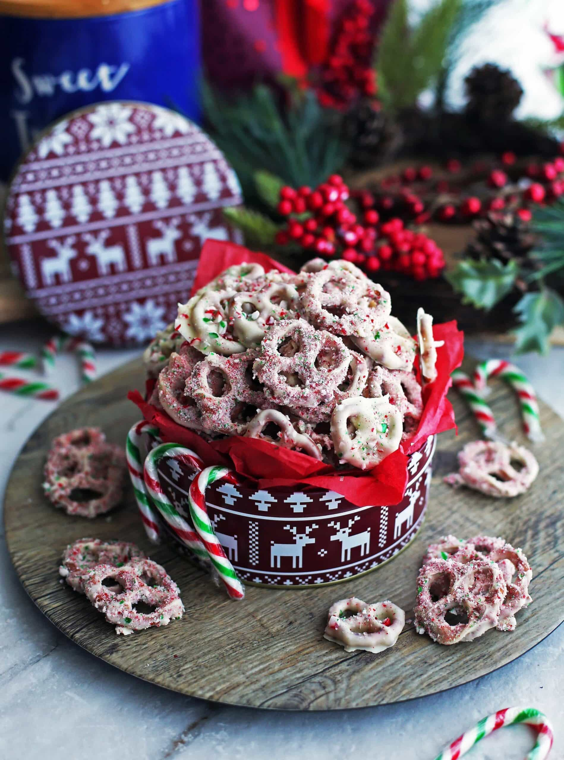 4-Ingredient Candy Cane Chocolate-Covered Pretzels