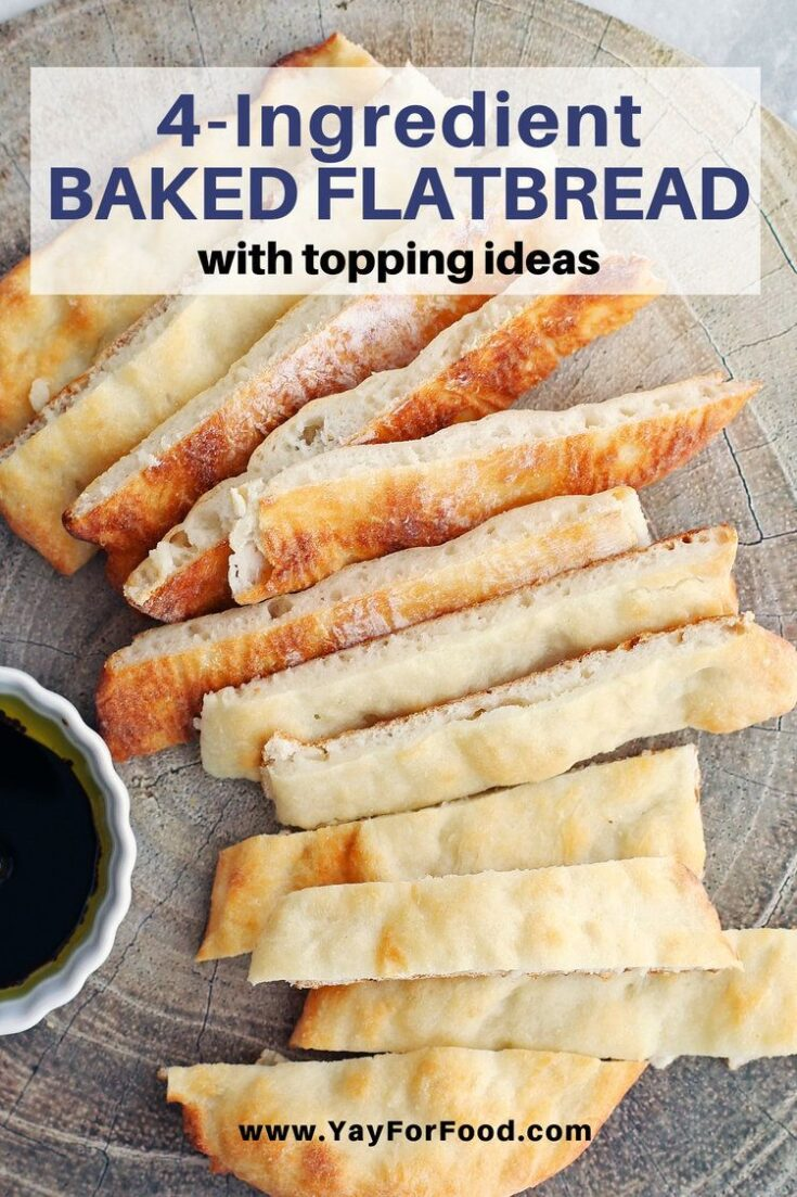 A simple and delicious flatbread recipe made in one bowl using only four ingredients. Enjoy it on it's own or use it as a crust for your favourite flatbread toppings.