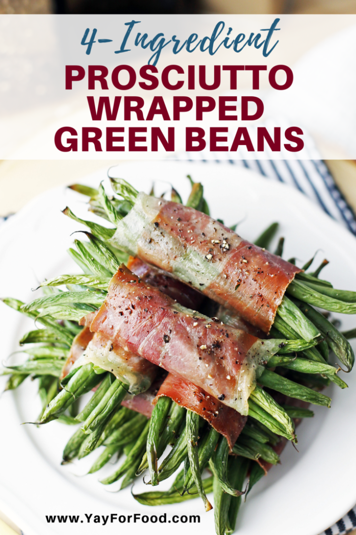 Wonderfully tender green beans get a hug from delicious salty prosciutto in this easy four-ingredient appetizer recipe. These simple, savoury bundles go from your refrigerator to your plate in under 30 minutes.