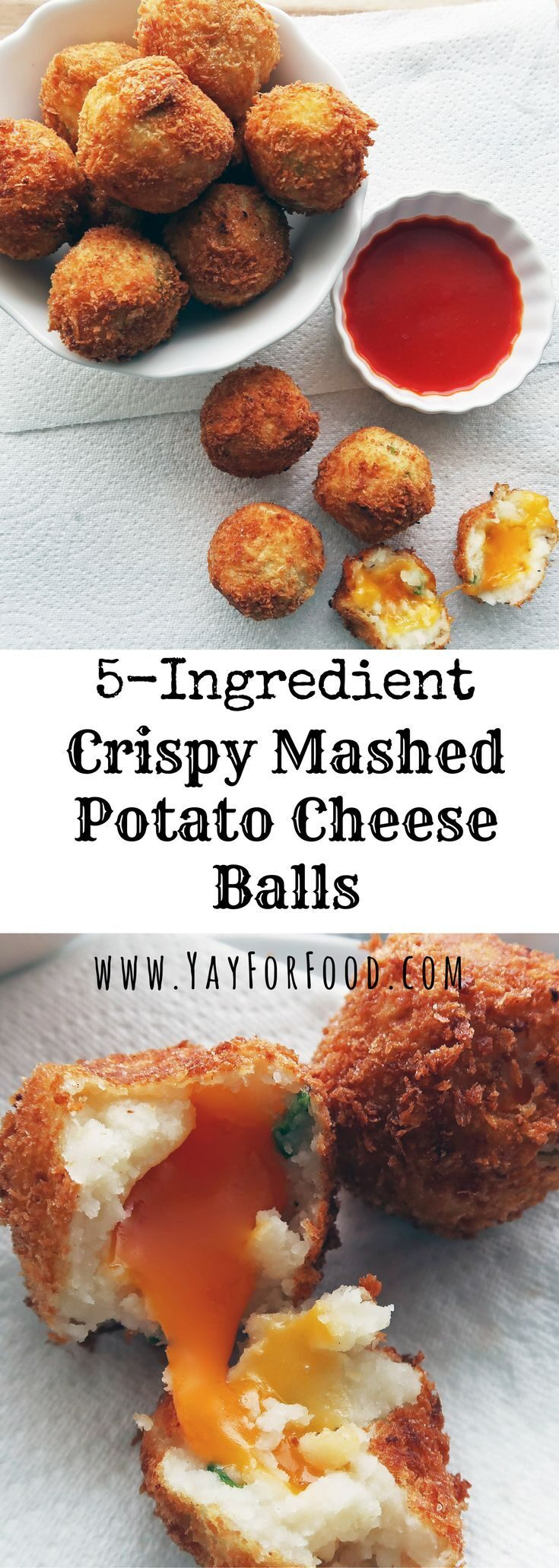 """<span style=""""font-size:14.6667px"""">Got leftover mashed potatoes? Make 5 ingredient Crispy Mashed Potato Balls! The outside is crispy and golden-brown and the inside contains the soft and fluffy mashed potatoes with melty cheddar cheese. Perfect for snacking!</span>"""
