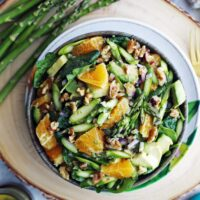 Asparagus Orange Spinach Salad with Basil Lemon Vinaigrette