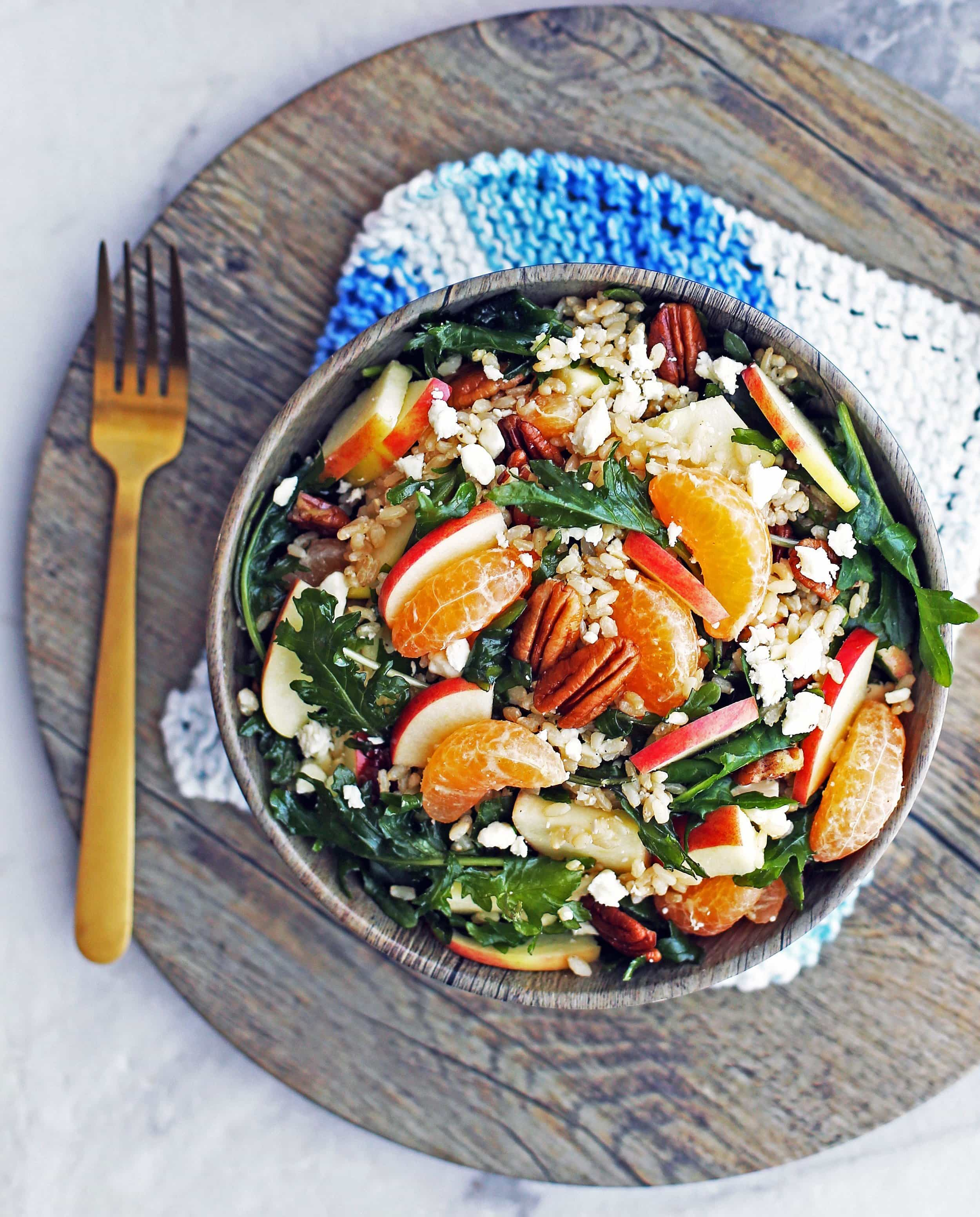 Baby Kale and Brown Rice Salad with Feta and Clementines