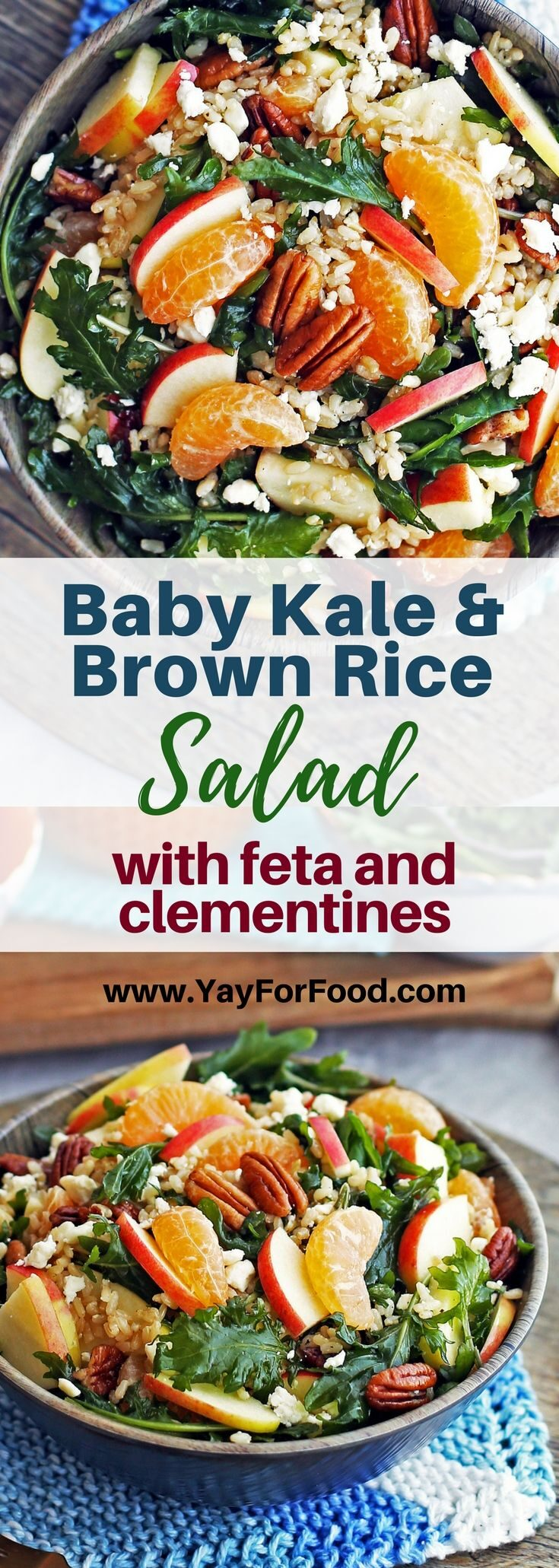 Check out this delicious winter salad featuring fiber-rich brown rice, fresh baby kale, and sweet clementine oranges! Vegetarian and gluten-free too.
