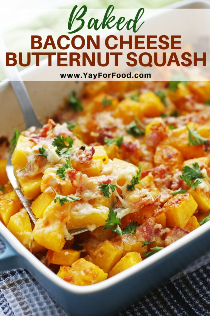 Crispy bacon teams up with cheddar and parmesan to bring a whole new level of flavour to this hearty butternut squash side dish recipe.