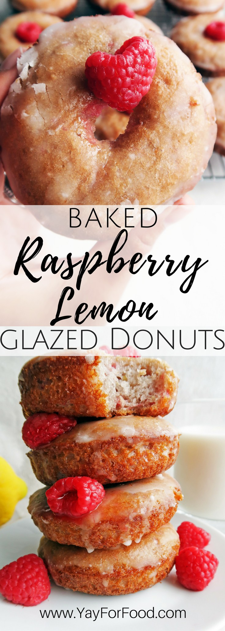 Enjoy fresh, light, and fluffy lemon raspberry donuts covered with a lemon glaze! These baked homemade treats are easy and made from scratch!