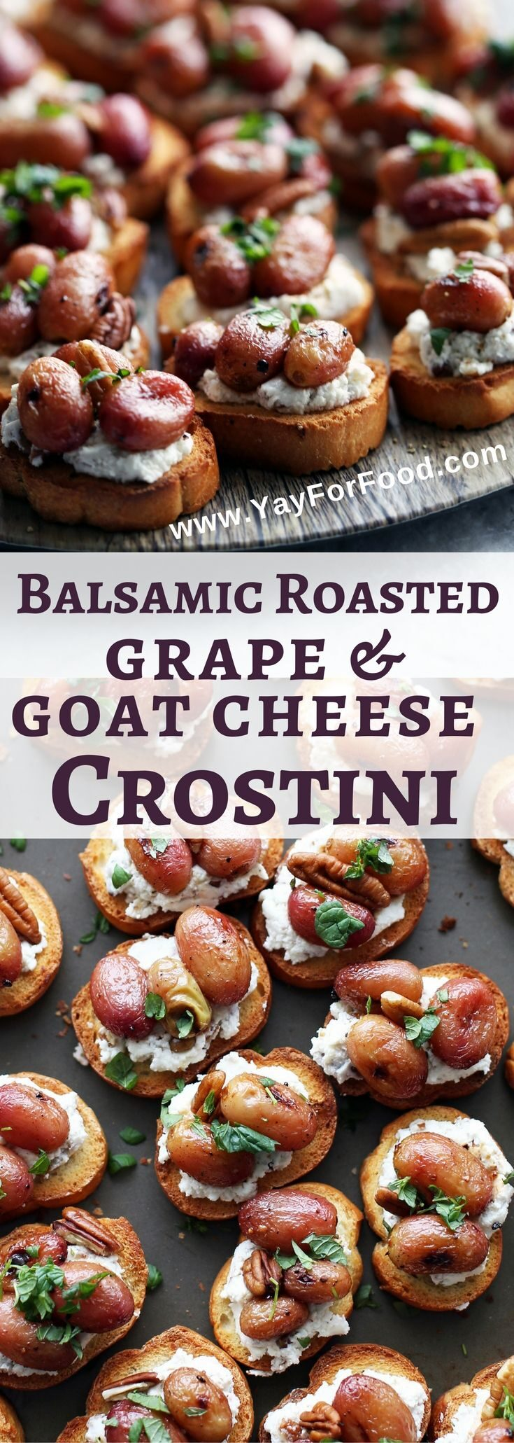 Check out this delicious appetizer featuring balsamic roasted sweet grapes, creamy goat cheese and nutty pecans on a crunchy crostini. It's ready in only 30 minutes!