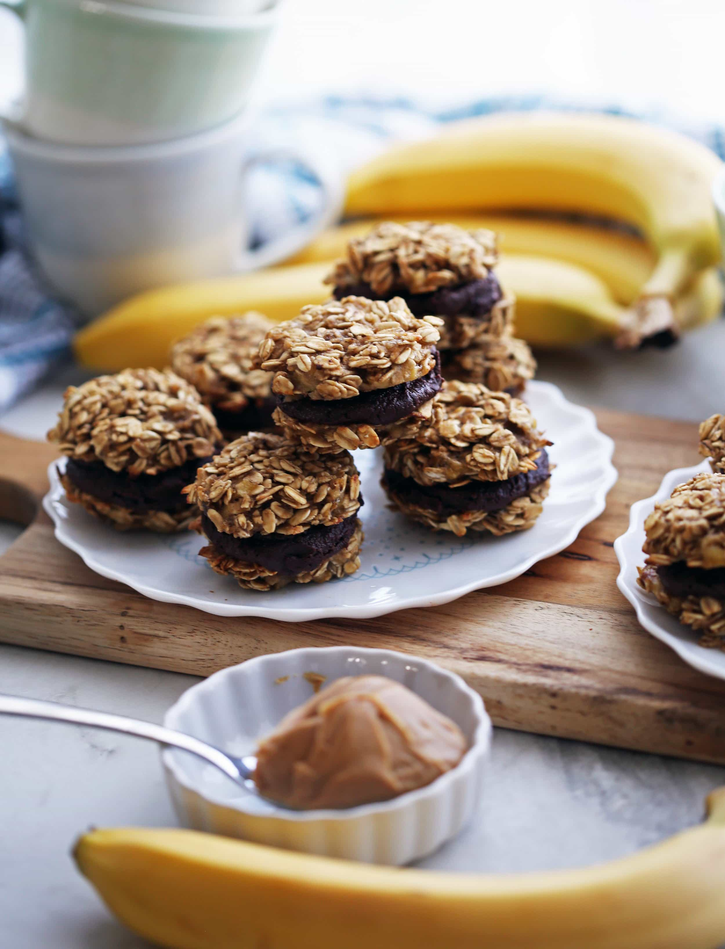 Banana Oatmeal Sandwich Cookies with Peanut Butter Cocoa Filling