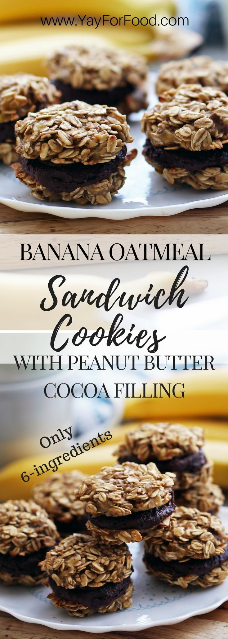 A tasty sweet treat with banana, peanut butter, and chocolate flavours! These sandwich cookies require only six ingredients and takes 30 minutes or less to make.