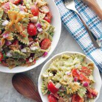 Basil Avocado Pesto Vegetable Pasta Salad