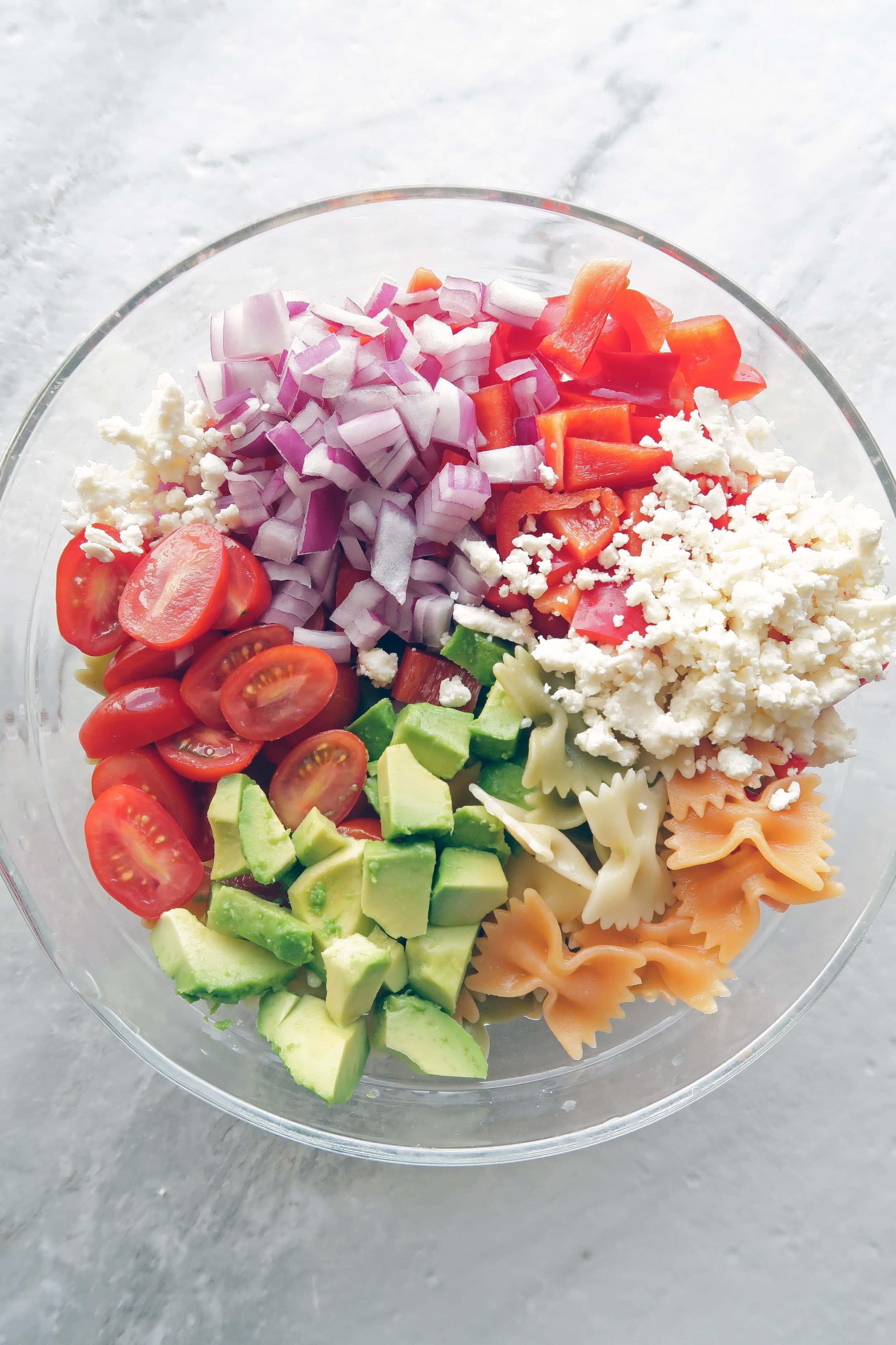 Basil Avocado Pesto Vegetable Pasta Salad Yay For Food
