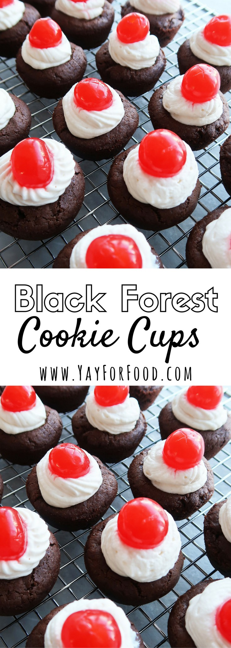 "<span style=""font-size:14.6667px"">Inspired by Black Forest Cake! It is a soft, chewy chocolate brownie cookie, filled with homemade whipped cream, and topped with a maraschino cherry!</span>"