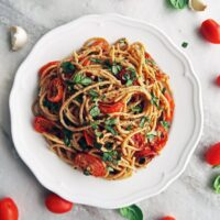 Black Pepper & Parmesan Spaghetti with Garlic Roasted Tomatoes