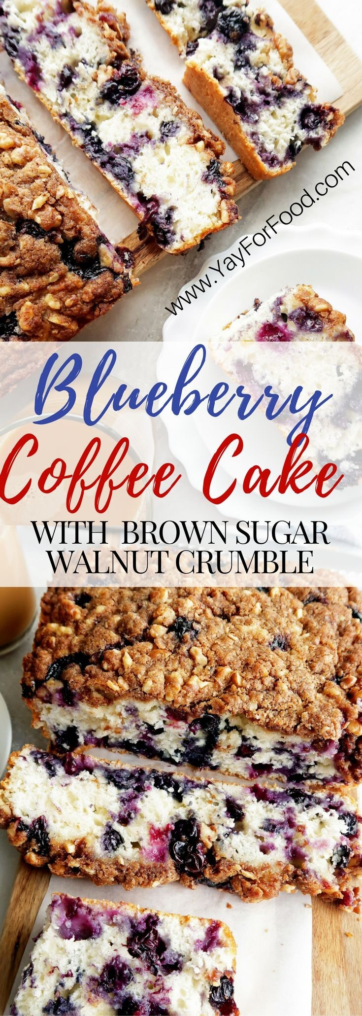 Try this delightful coffee cake loaded with fresh blueberries and topped with a crunchy and sweet walnut and brown sugar crumb topping! Serve it for breakfast, dessert, or as a snack!