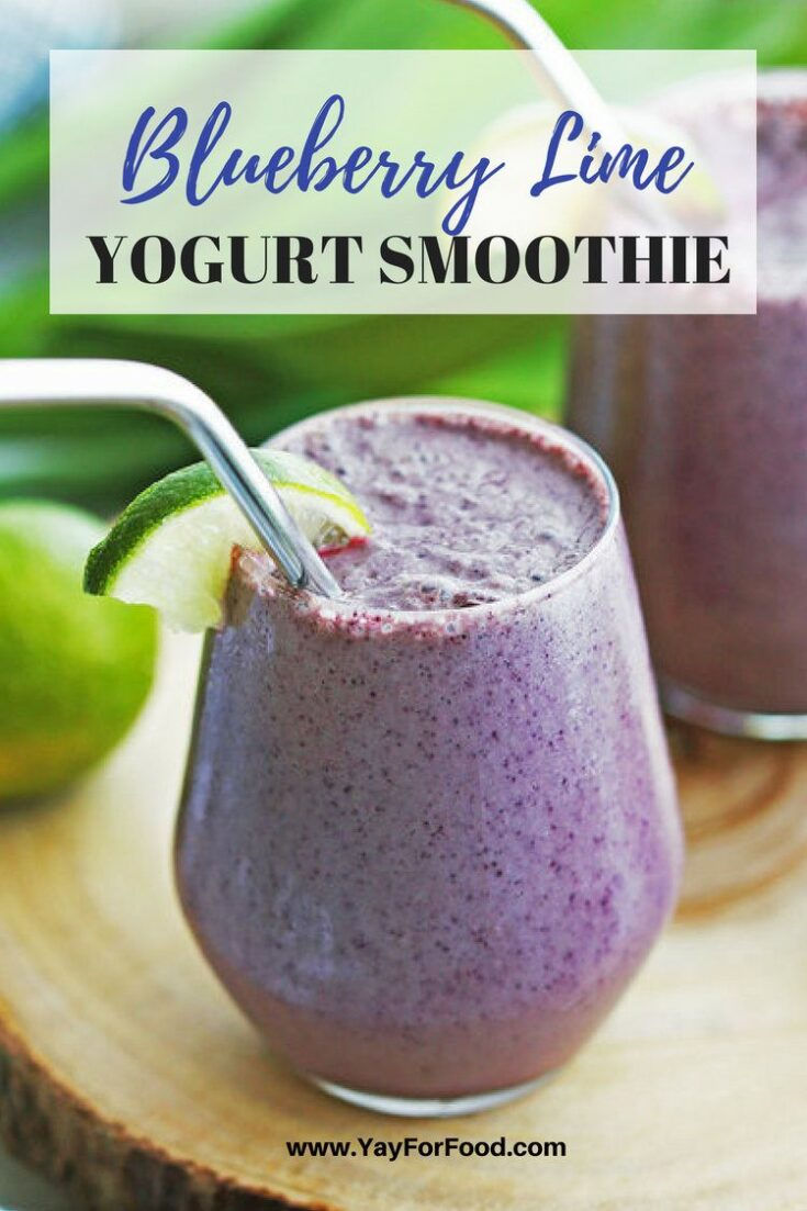 Start your day with this healthy and delicious breakfast smoothie featuring blueberries, lime juice, and spinach!
