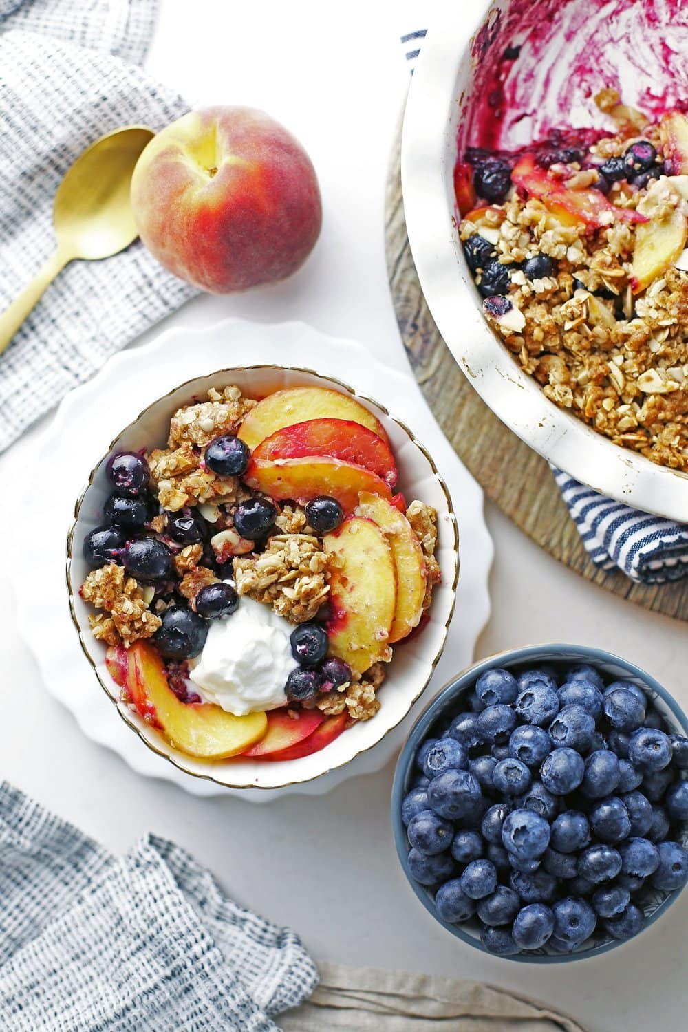 Blueberry Peach Crisp with Almond Oat Topping