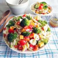 Broccoli Cheddar Pasta Salad with Tangy Italian Vinaigrette