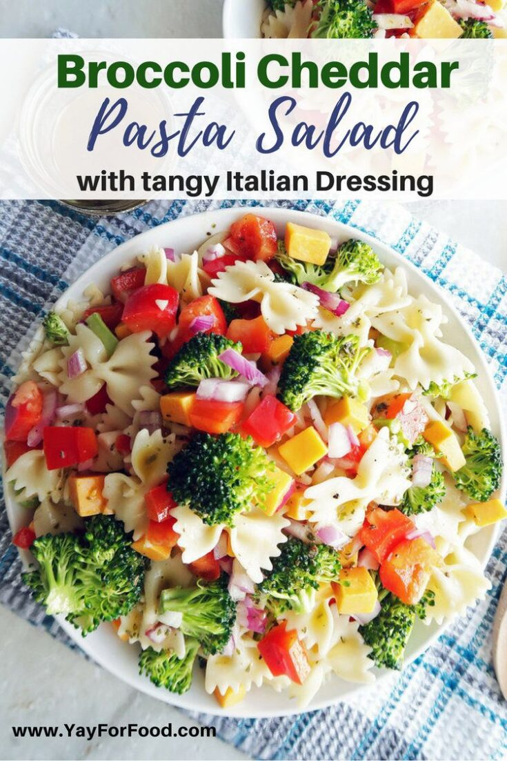 A delicious and colourful vegetable and cheese pasta salad with a simple homemade Italian Vinaigrette. Serve it at your next barbecue, picnic, or get-together!