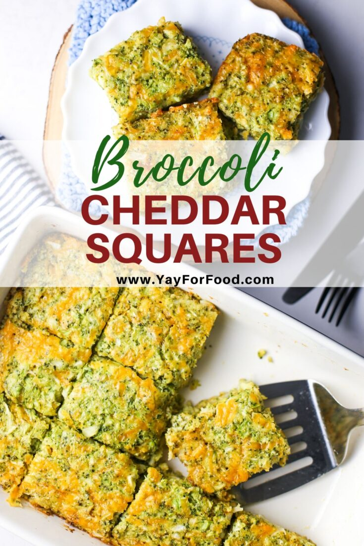 Broccoli cheddar squares are an excellent make-ahead breakfast or appetizer for your next party. Simple ingredients with delicious results. #yayforfood #broccoli #cheese #appetizers #snacks #breakfast