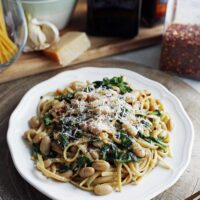 Brown Butter Linguine with White Beans and Spinach