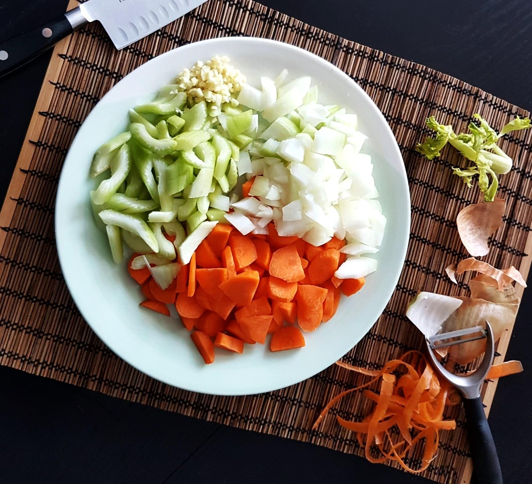 Chopped carrots, celery, onions, and garlic.
