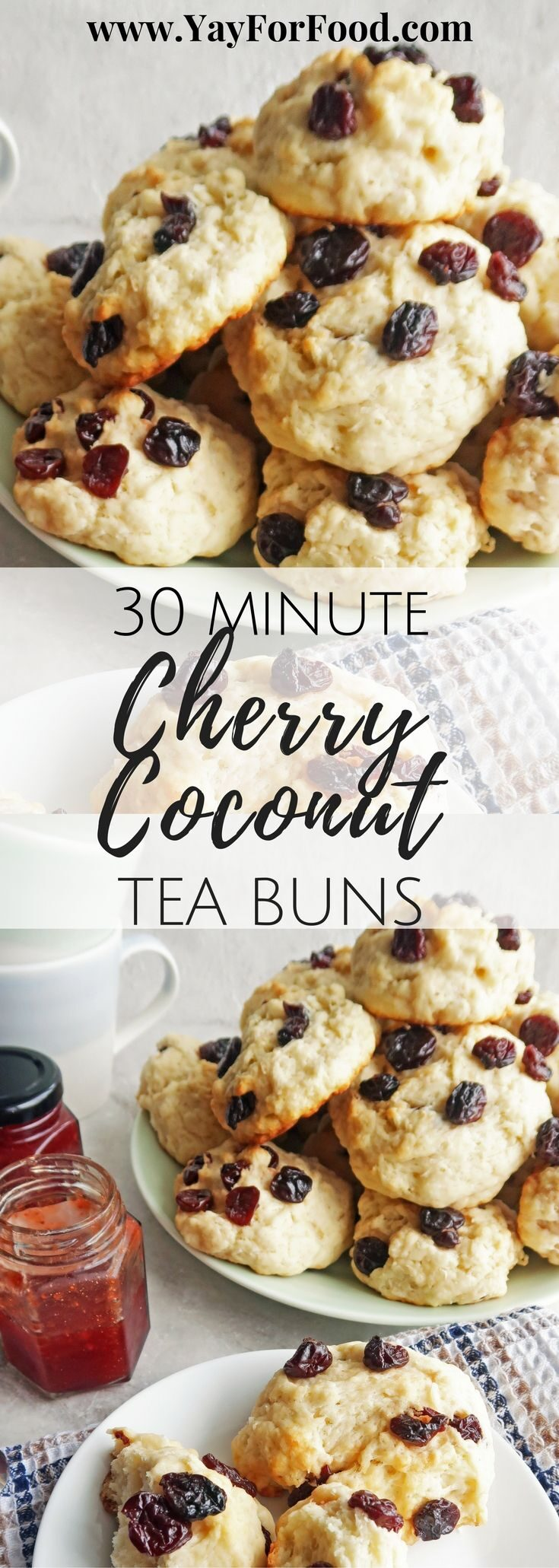 A wonderful combination of shredded coconut and dried cherries are showcased in this delicious tea bun that's ready in 30 minutes! Serve it with tea or coffee for breakfast or as a portable snack anytime!