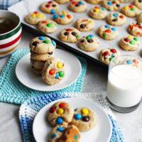 Chewy Peanut Butter Cookies with Chocolate M&M's