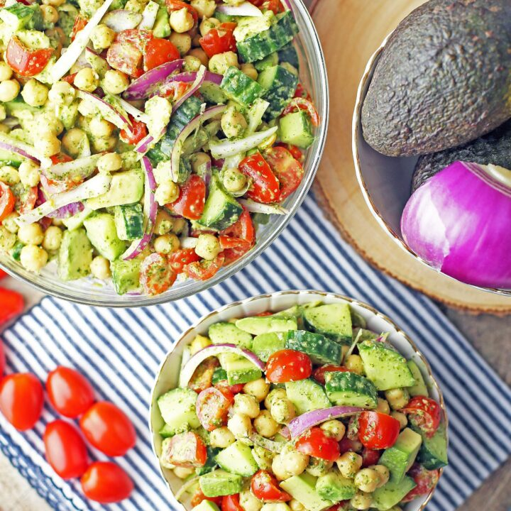 Chickpea Cucumber Avocado Salad with Parsley Dressing