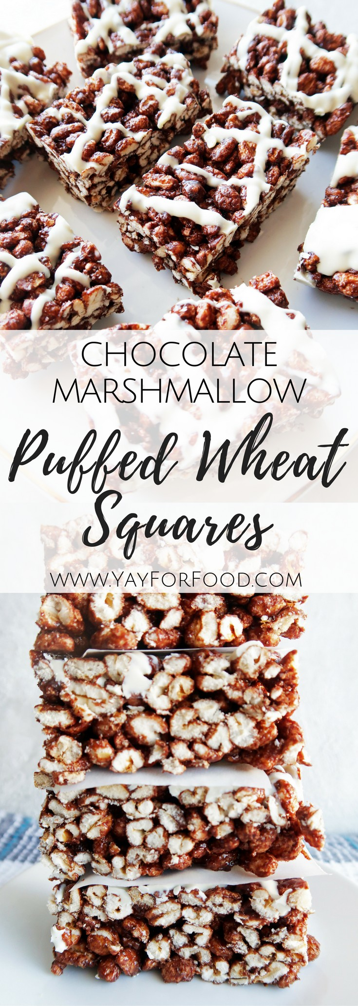 Try these no-bake soft and chewy chocolate marshmallow puffed wheat squares with white chocolate drizzle. Make it in 10 minutes with only 7 ingredients!