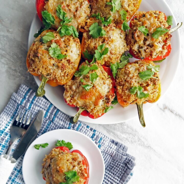 Cilantro Lime Turkey Quinoa Stuffed Bell Peppers