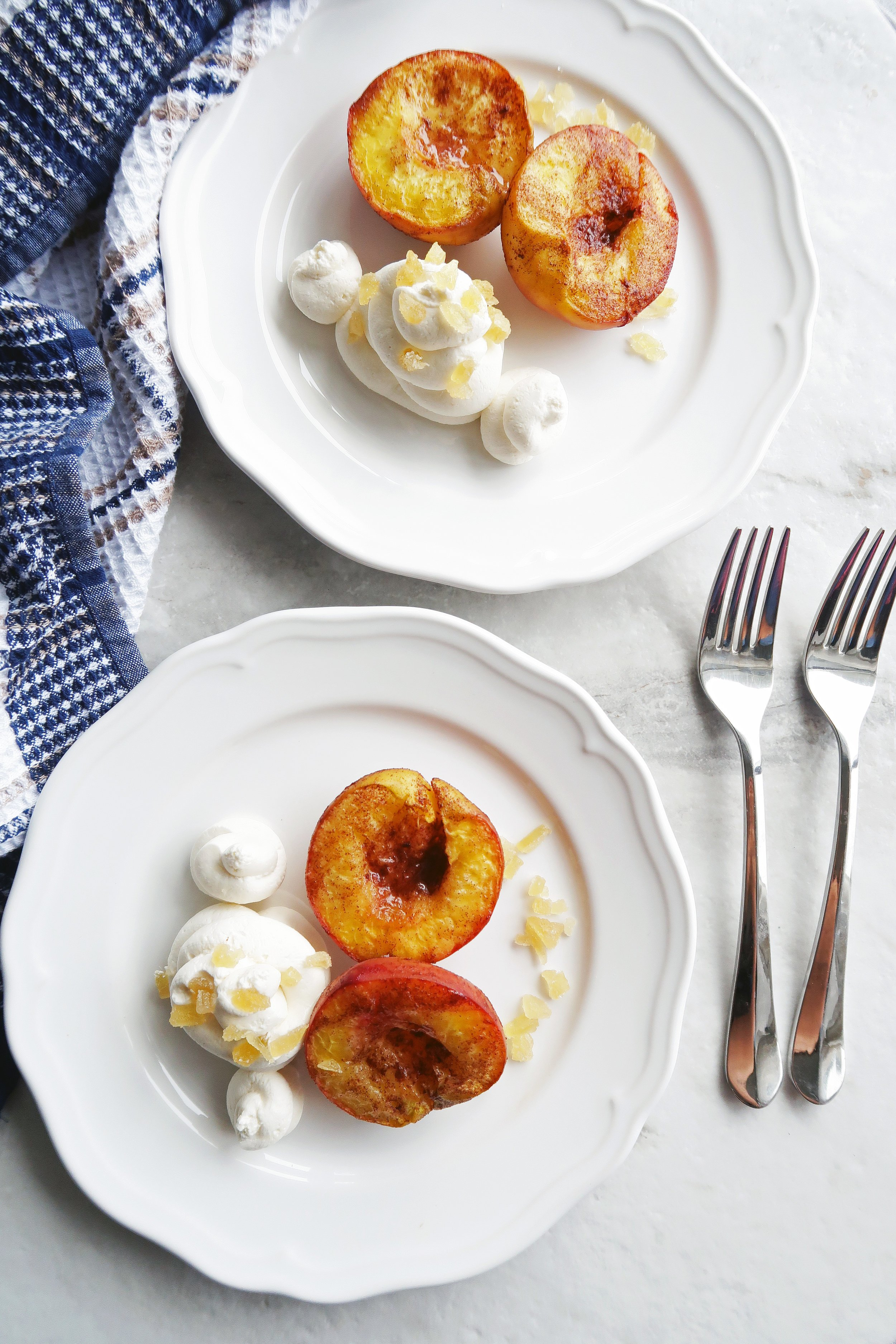 Cinnamon Roasted Peaches with Honey Mascarpone Whipped Cream