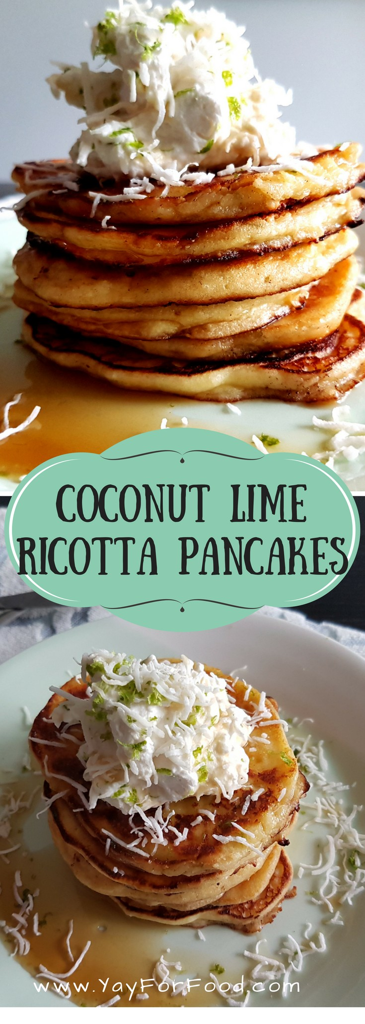 Fluffy, warm goodness. This easy pancake recipe is a little different from the traditional pancake recipes, but worth it. The coconut and lime gives the pancake a fresh taste, the outside is crispy and buttery, and the ricotta gives the insides a light, airy texture.