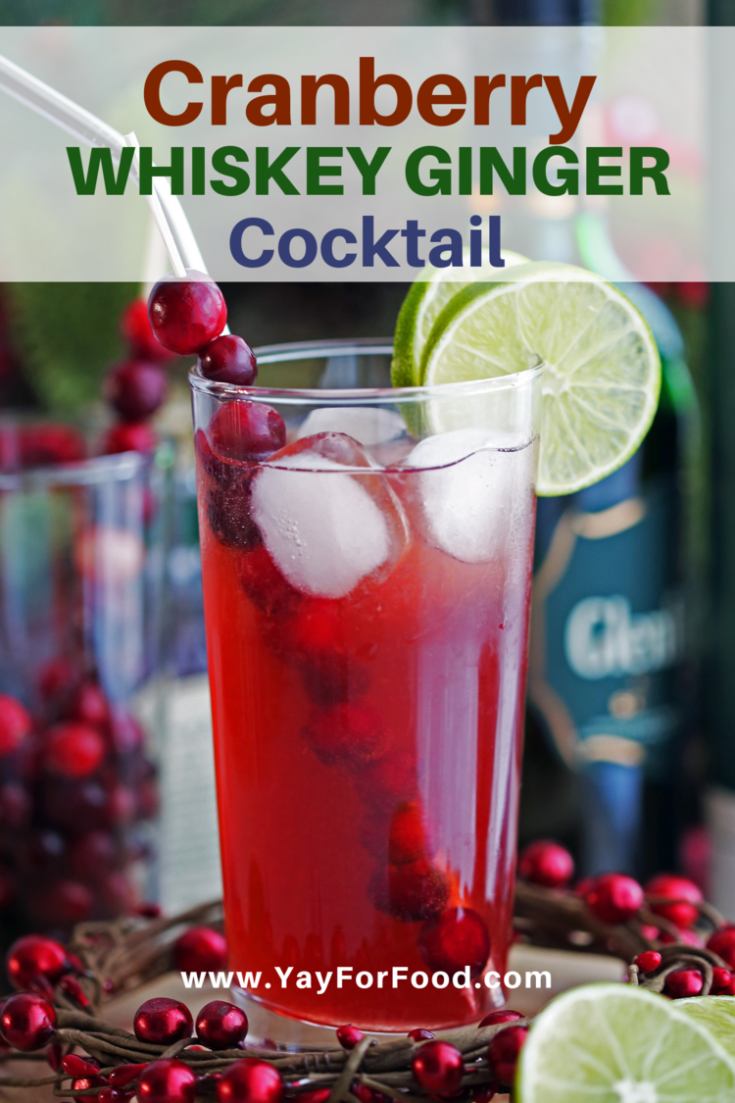 A quick, delicious, and refreshing cocktail recipe featuring cranberry juice, bold whiskey, and sweet and spicy ginger ale. The seasonal flavours and festive colours are perfect for the holidays.