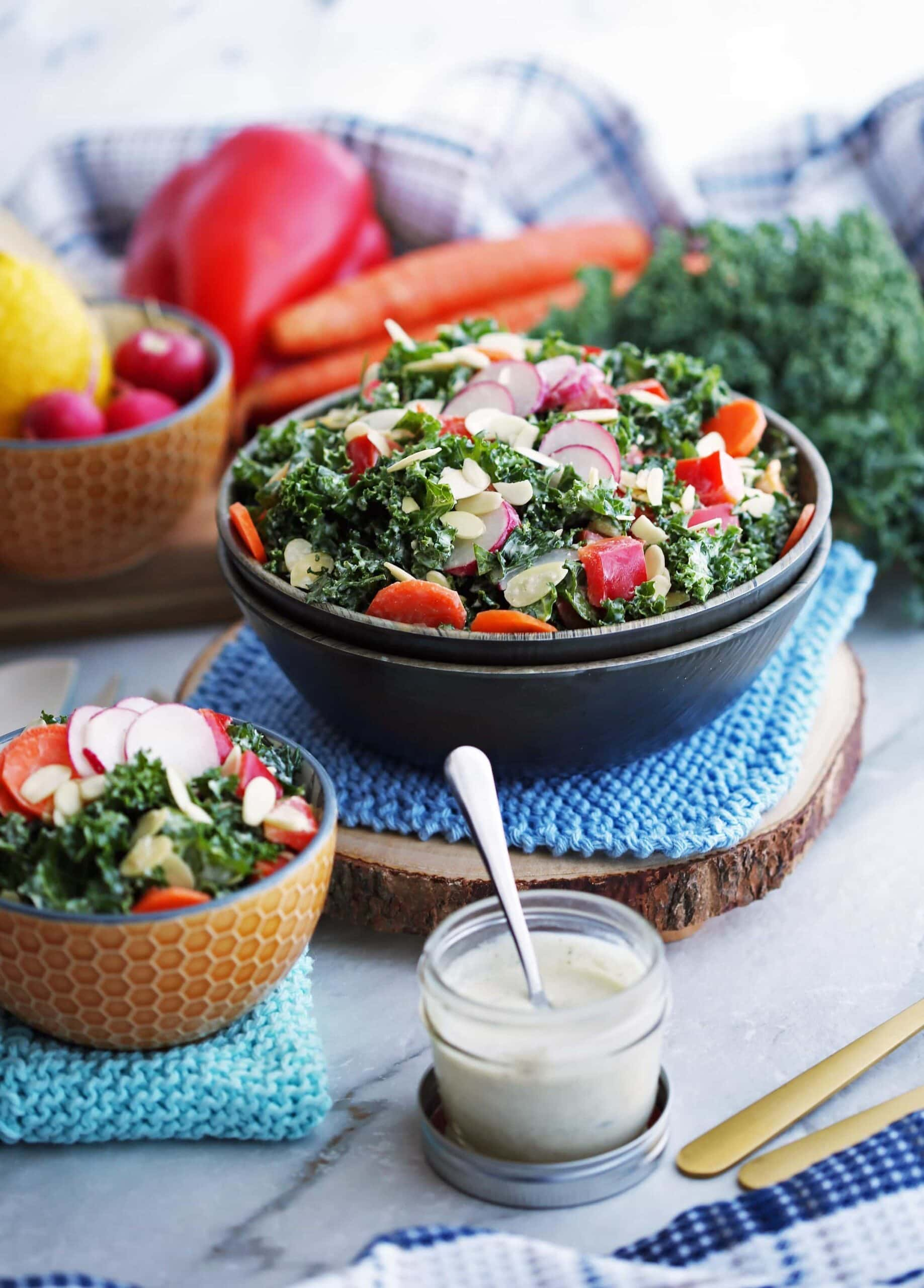 Crunchy Kale Salad with Creamy Parmesan Yogurt Dressing