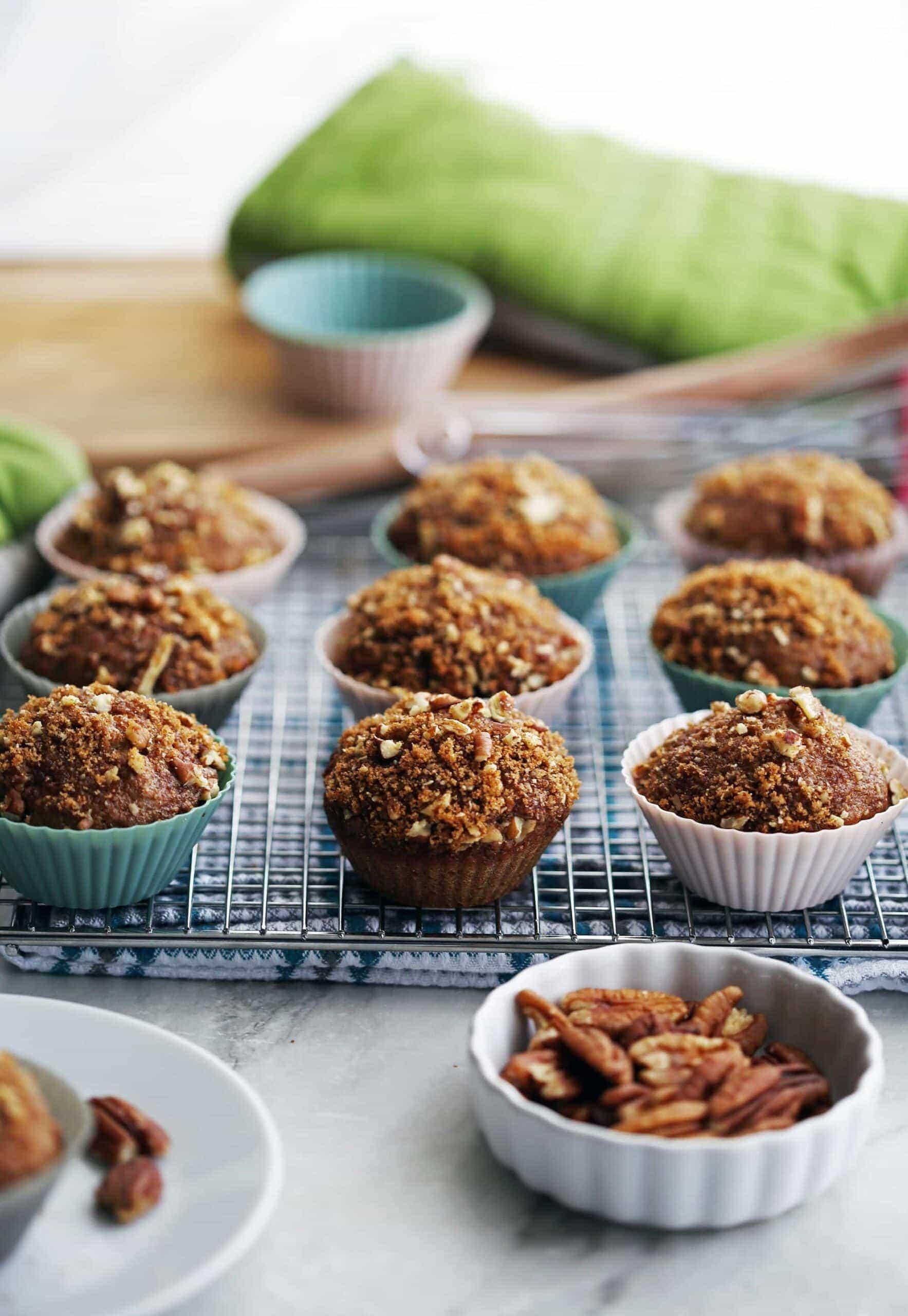 Crunchy-Top Cinnamon Pecan Applesauce Muffins