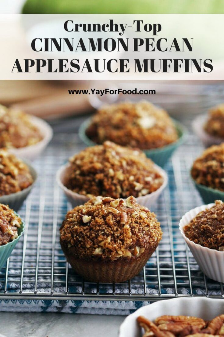 Check out these easy and delicious spiced muffins with crunchy pecan-brown sugar topping. It's made with applesauce and no butter or eggs! No electric mixer required and ready in under 35 minutes too.