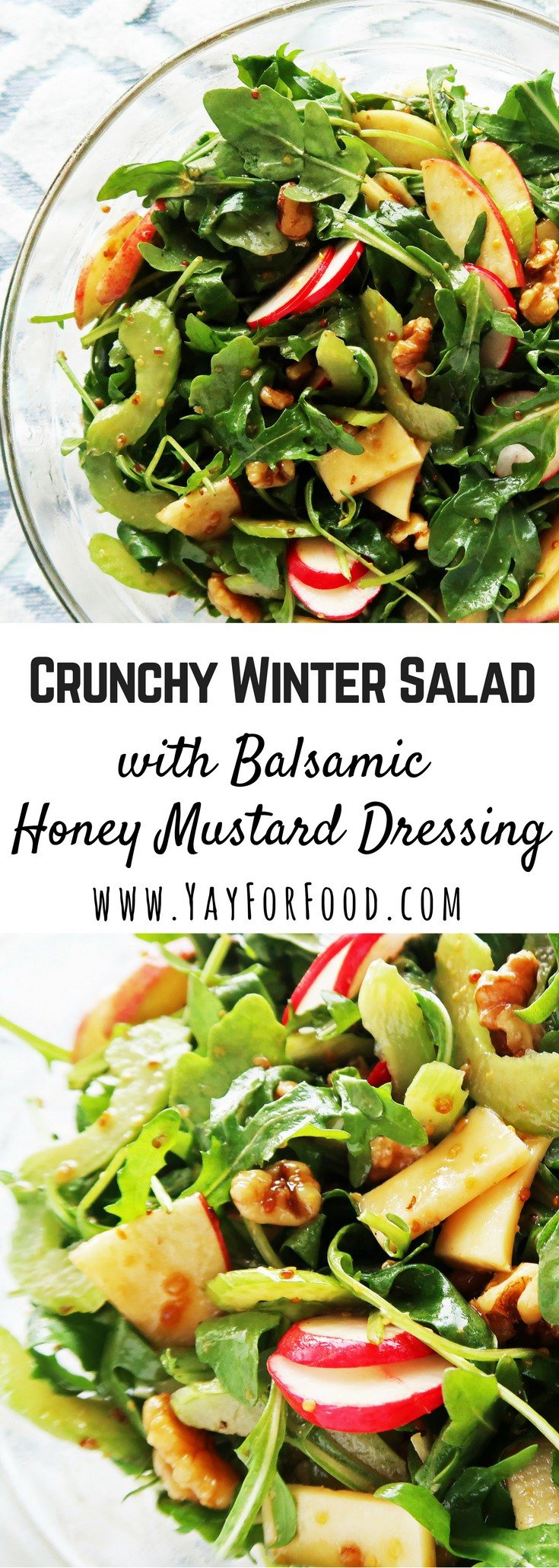 This healthy, delicious crunchy winter salad is paired with a homemade balsamic-honey mustard dressing. Easy to prepare and ready in 10 minutes or less!