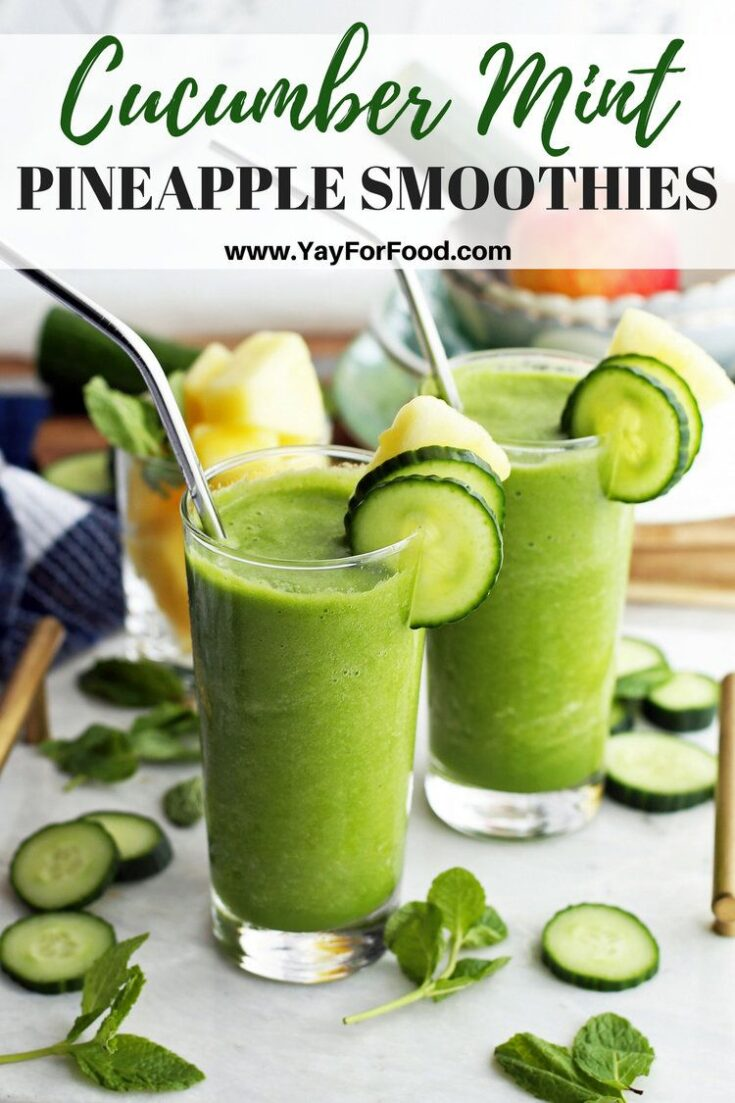 Sweet, tart, and fresh flavours collide in this refreshing healthy smoothie recipe. Pineapple, cucumber, and mint (plus more) blend together to make a quick breakfast or snack with no added sugar.