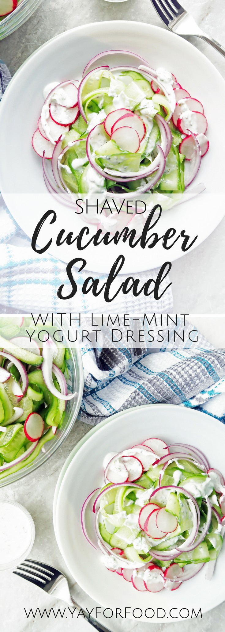 This delicious cucumber salad with homemade lime-mint yogurt dressing is healthy, refreshing, ready in ten minutes, and goes wonderfully as a side dish for chicken, beef, or fish.