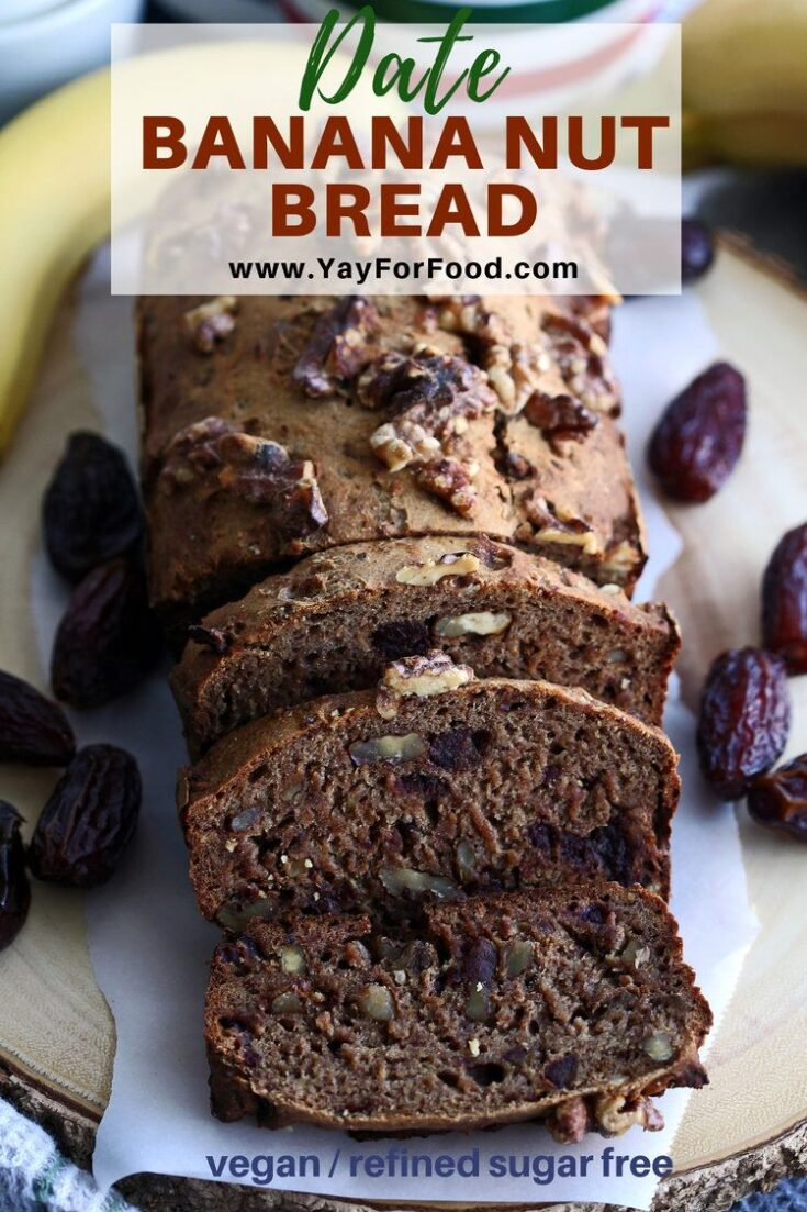 A delicious vegan banana bread recipe featuring a crispy crust and soft inside. This bread requires no proofing and is refined-sugar free using dates for sweetness.