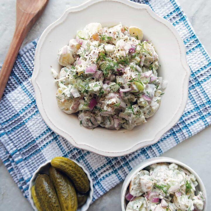 Dill Pickle Greek Yogurt Potato Salad