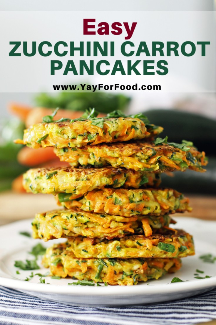 Crispy and pan-fried on the outside with soft, vegetable-filled insides! These Zucchini Carrot Pancakes are a tasty and colourful dish that can be served for breakfast, lunch, or as a snack!