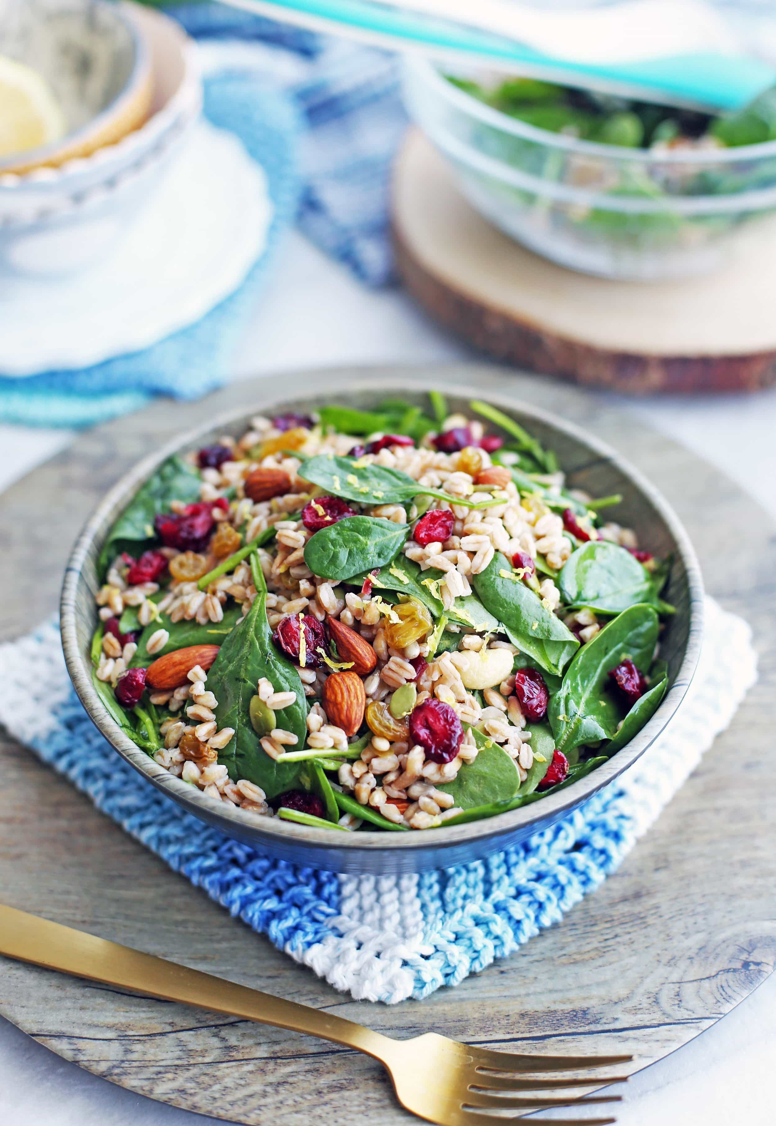 Farro and Spinach Salad with Dried Fruit and Nuts