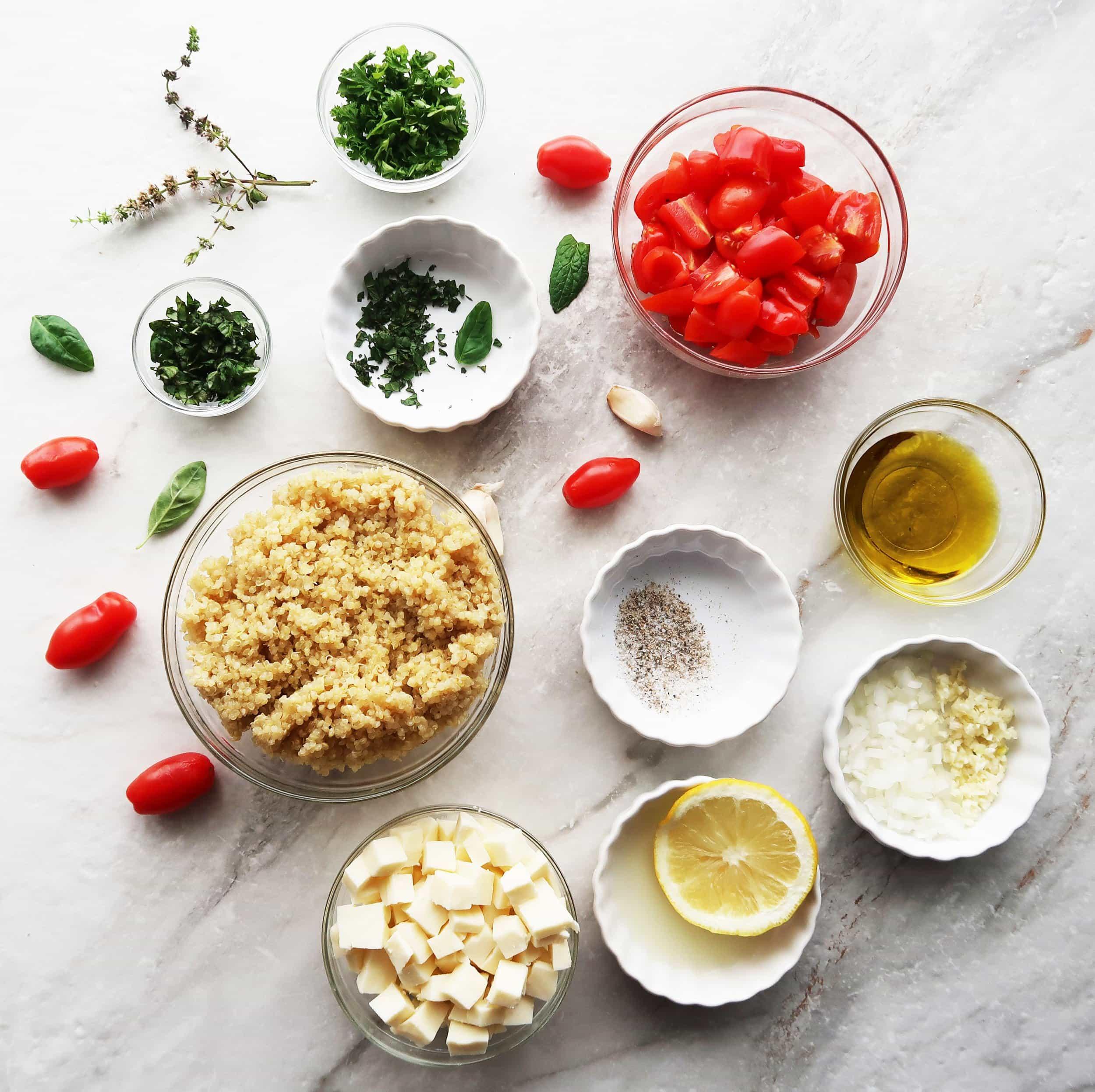 Quinoa, mozzarella, tomatoes, olive oil, herbs, and lemon.