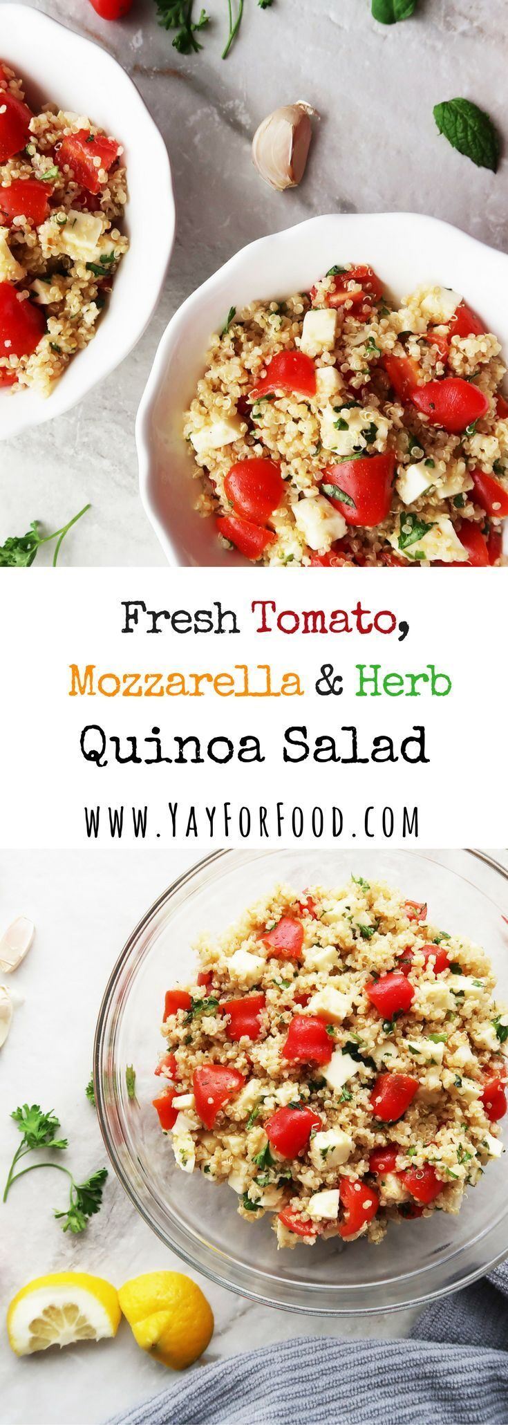 """<span style=""""font-size:14.6667px"""">A filling, delicious quinoa salad featuring fresh tomatoes, mozzarella, and herbs. Gluten-free, vegetarian, and nutrient-rich.</span>"""