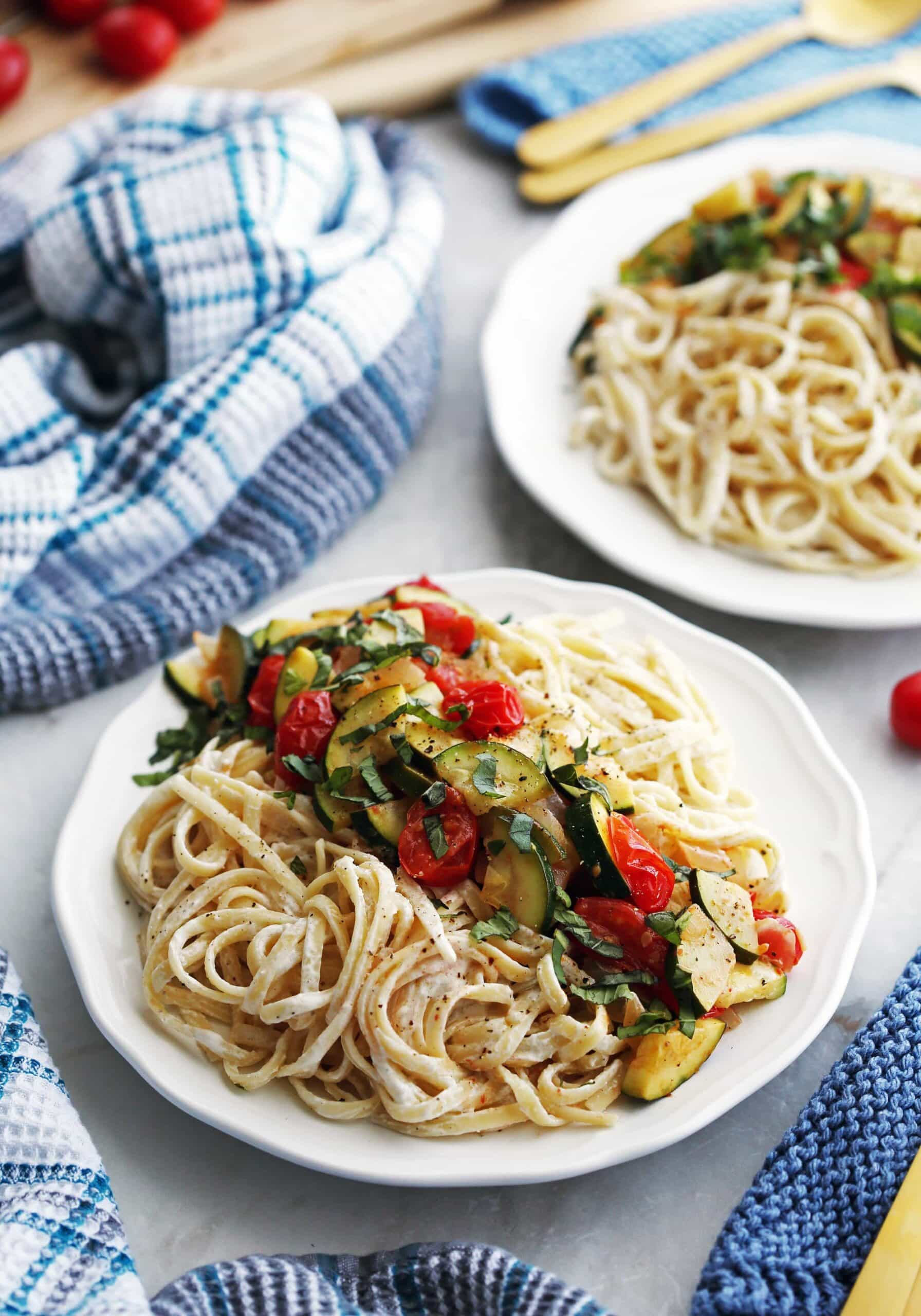 Creamy Goat Cheese Pasta with Zucchini and Tomatoes