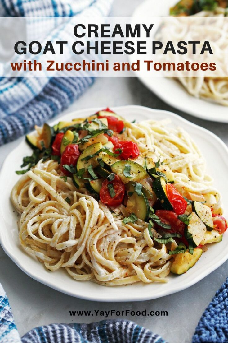 Zucchini and tomatoes bring fresh summertime flavour to this quick and easy pasta recipe. Together with a creamy goat cheese sauce, it's a simple and delicious family meal.