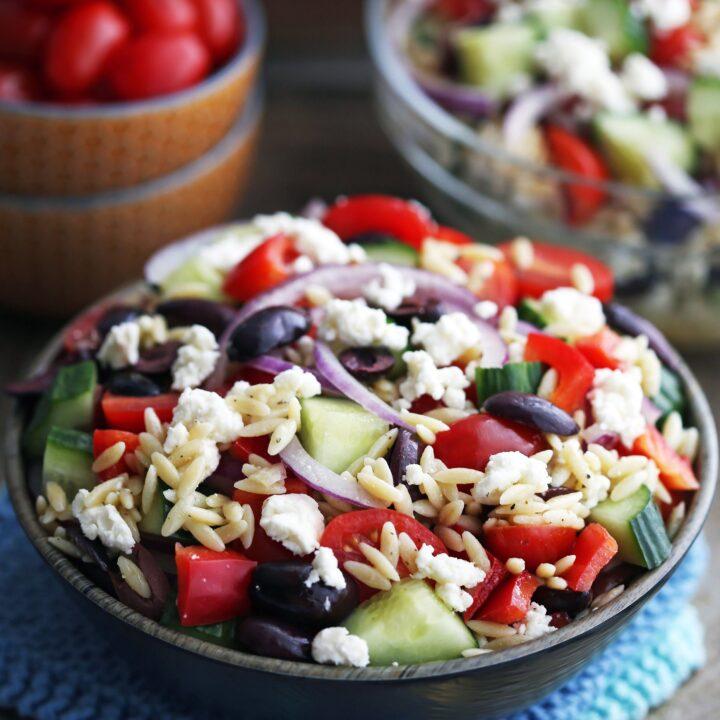 Greek Orzo Salad with Lemon Vinaigrette