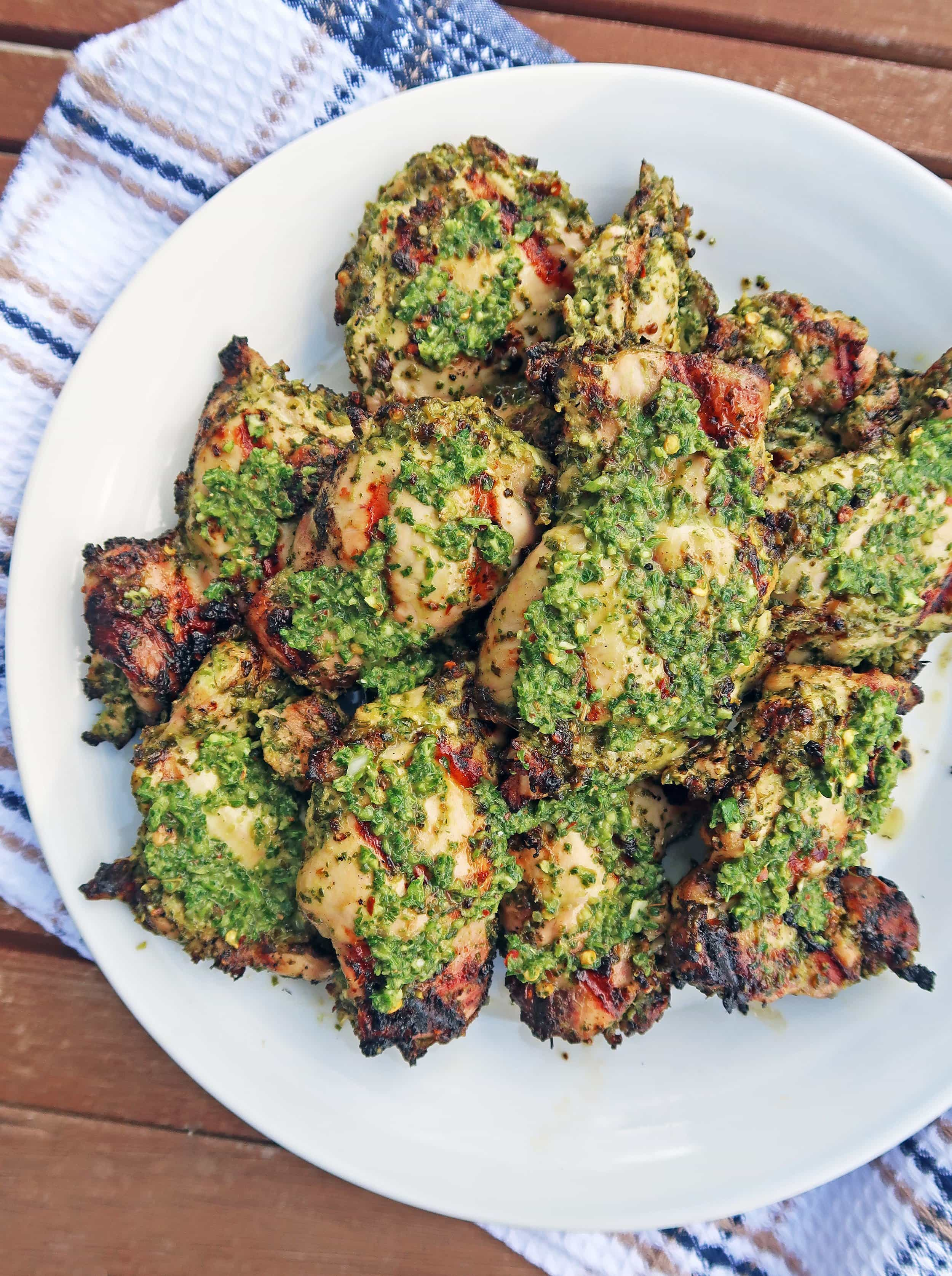 Grilled Chicken Thighs with Chimichurri Sauce
